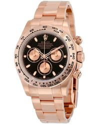 Rolex Cosmograph Daytona Black Dial 18k Everose Gold Oyster Bracelet Automatic Mens Watch - Multicolor