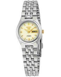 Seiko 5 Automatic White Dial Stainless Steel Watch - Metallic