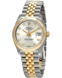 Rolex Datejust 31 Silver Diamond Dial Automatic Steel - Metallic