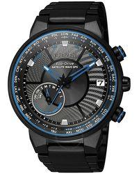 Citizen Satellite Wave Perpetual World Time Black Dial Mens Watch -81e