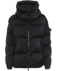 Moncler Ladies Black Wil Hooded Quilted Down Satin Puffer Jacket