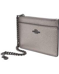 COACH Chain Card Case In Platinum - Metallic