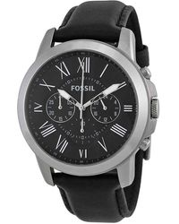 Fossil Grant Black Dial Black Leather Mens Watch