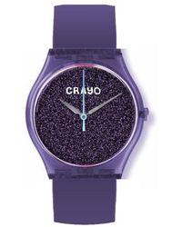 Crayo Glitter Purple Dial Watch
