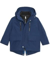Burberry Kids Hooded Parka With Quilted Jacket In Bright Navy, Brand - Blue