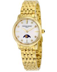 Frederique Constant Slimline Moonphase Mother Of Pearl Dial Ladies Watch -206mpwd1s5b - Metallic