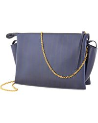 Céline Midnight Tri Fold Printed Calf Top Handle Bag - Blue
