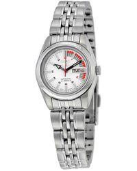 Seiko 5 Automatic White Dial Stainless Steel Ladies Watch - Metallic