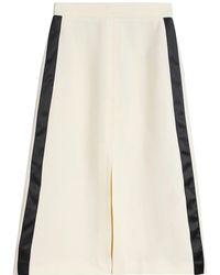Burberry Ladies Off Whitesport Stripe Wool Silk A-line Skirt, Brand - Multicolour