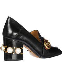 Gucci Ladies Black Leather Mid-heel Loafer