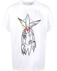 Off-White c/o Virgil Abloh White / Multi X Futura Alien Print T-shirt