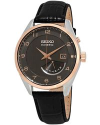 Seiko Kinetic Automatic Brown Dial Brown Leather Mens Watch - Multicolour