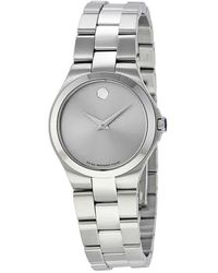 Movado - Stainless Steel Grey Dial Ladies Watch - Lyst