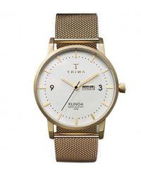 Triwa Klinga Gold Mesh Quartz White Dial Unisex Watch - Metallic