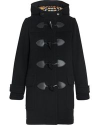 Burberry Ladies Black Wool Blend Duffle Coat