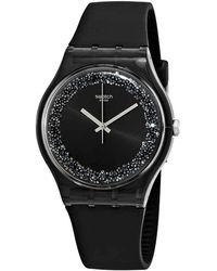 Swatch Darksparkles Black Dial Black Silicone Ladies Watch