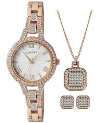 Ellen Tracy Watch Sets White Dial Ladies Watch - Metallic