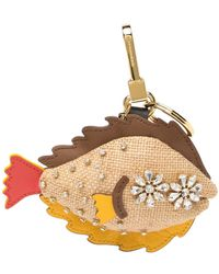 Burberry Natural Multi Sole Fish Crystal Studded Key Charm - Metallic