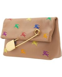 Burberry Camel Equestrian Knight Foldover Leather Clutch - Multicolor