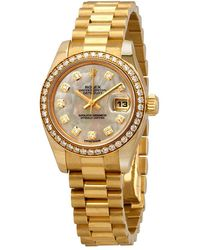 Rolex Lady-datejust 26 Mother Of Pearl Dial 18k Yellow Gold President Automatic Ladies Watch - Metallic