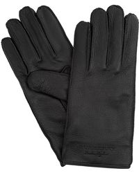 Burberry Cashmere Lined Lambskin Leather Gloves - Black