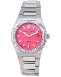 Girard-Perregaux Laureato Quartz Diamond Red Dial Ladies Watch - Metallic
