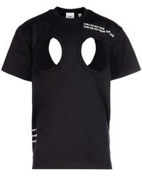 Burberry Mens Black Cut-out Detail Montage Print Oversized T-shirt, Brand