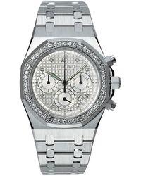 Audemars Piguet Royal Oak Chronograph Diamond 18 Kt White Gold Mens Watch - Metallic
