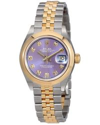 Rolex - Lady Datejust 28 Lavender Dial Steel And 18k Yellow Gold Jubilee Watch - Lyst