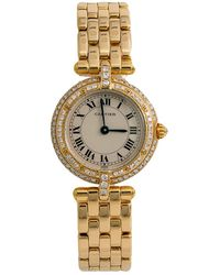 Cartier Pre-owned Panthere Round Diamond Beige Dial Ladies Watch - Metallic