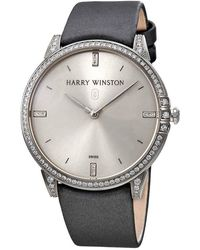 Harry Winston Midnight Silver Dial 18kt White Gold Diamond Stain Watch - Metallic