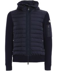 Moncler Mens Navy Hooded Quilted Jacket - Blue