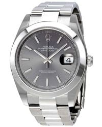 Rolex Oyster Perpetual Datejust Rhodium Dial Automatic Mens Watch - Metallic