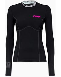 Off-White c/o Virgil Abloh Ladies Black / Fuchsia Logo Neck Long-sleeve Top