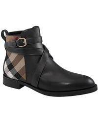 Burberry - Ladies Vaughan Check Leather Ankle Boots, Brand - Lyst