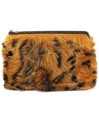 Céline Solo Leopard Shearling Pouch-orange