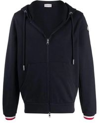 Moncler Mens Navy Striped-trim Zipped Hoodie, Brand - Blue