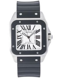 Cartier Pre-owned Santo 100 Automatic White Dial Mens Watch - Black