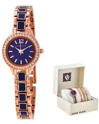 Anne Klein Navy Dial Ladies Watch And Bracelet Set - Multicolour