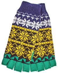 Burberry Fair Isle Wool Cashmere Cotton Fingerless Gloves - Multicolor