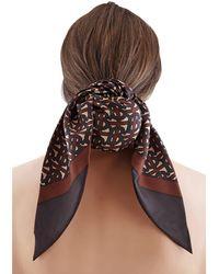 Burberry Monogram Print Silk Hair Scarf - Brown