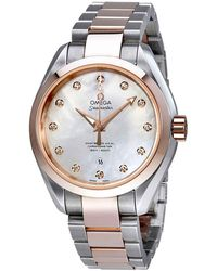 Omega Seamaster Aqua Terra Mother Of Pearl Dial Automatic Ladies Watch - Metallic