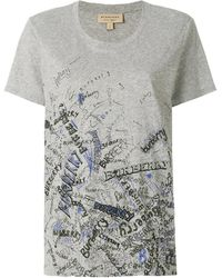 Burberry Doodle Print Cotton T-shirt, Brand - Gray