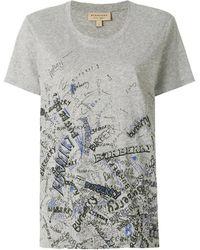Burberry Doodle Print Cotton T-shirt - Grey