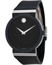 Movado Sapphire Synergy Black Dial Black Rubber Mens Watch 606780