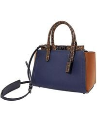 COACH Ladies Snakeskin Detail Troupe Carryall In Colorblock - Blue