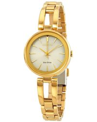 Citizen Axiom Eco-drive Champagne Dial Yellow Gold-tone Ladies Watch -50p - Metallic