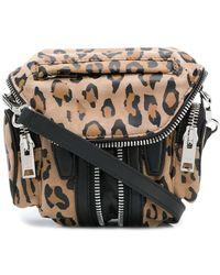 Alexander Wang Ladies Flat Crossbody Bag Marti Leopard Micro Martileoprd Print - Brown