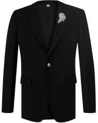 Burberry Slim Fit Bullion Floral Wool Gabardine Blazer - Black
