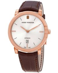 Harry Winston Midnight Automatic 18kt Rose Gold Mens Watch - Pink